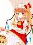 1girl :/ ascot bangs blonde_hair blush bow commentary_request cookie crystal cup eyebrows_visible_through_hair flandre_scarlet flower food frilled_bow frills hat leaf looking_at_viewer mob_cap plate pointy_ears puffy_short_sleeves puffy_sleeves red_bow red_eyes red_ribbon red_skirt red_vest ribbon sakizaki_saki-p short_sleeves side_ponytail sidelocks sitting skirt solo table tablecloth teacup teapot touhou vampire vest wings wrist_cuffs yellow_neckwear
