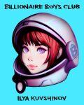 1girl aqua_background artist_name astronaut bangs eyelashes helmet ilya_kuvshinov lips looking_at_viewer original redhead simple_background solo violet_eyes