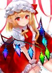 1girl bangs blue_nails blush bow breasts collared_shirt commentary_request crystal eyebrows_visible_through_hair flandre_scarlet frilled_skirt frills hands_on_ground hat hat_ribbon looking_at_viewer mob_cap nail_polish pointy_ears puffy_short_sleeves puffy_sleeves red_eyes red_ribbon red_skirt ribbon sakizaki_saki-p shirt short_sleeves side_ponytail simple_background sitting skirt small_breasts smile solo touhou twitter_username vampire white_background white_headwear wing_collar wings wrist_cuffs yellow_neckwear yellow_ribbon