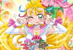 2girls blonde_hair cure_summer damage_numbers double_v emotional_engine_-_full_drive fairouz_ai green_eyes kinkuri_(axsc8mjrt) laura_la_mer long_hair mermaid monster_girl multiple_girls natsuumi_manatsu one_eye_closed pink_hair precure side_ponytail tongue tongue_out tropical-rouge!_precure v voice_actor_connection