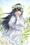 1girl :d absurdres arms_behind_back black_hair blurry blurry_background blurry_foreground cover cover_page dress eyebrows_visible_through_hair fang field flower flower_field frilled_dress frills grey_eyes hair_between_eyes hair_ornament highres long_hair looking_at_viewer ninto official_art open_mouth original short_sleeves smile sparkle white_dress wreath