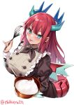 1girl :p aqua_eyes bangs black_neckwear black_ribbon blush bowl breasts copyright_request cream dragon_girl dragon_horns dragon_tail ebifurya eyebrows_visible_through_hair food highres holding holding_bowl horns large_breasts long_hair long_sleeves looking_at_viewer puffy_long_sleeves puffy_sleeves redhead ribbon simple_background solo tail tongue tongue_out twitter_username white_background