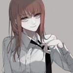 1girl black_neckwear chainsaw_man closed_mouth clothes_lift collared_shirt dress dress_lift ebanoniwa grey_background hair_down head_tilt long_hair long_sleeves looking_at_viewer makima_(chainsaw_man) necktie necktie_grab neckwear_grab ringed_eyes shirt simple_background smile solo upper_body white_shirt wing_collar yellow_eyes