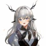1girl :d alina_(arknights) animal_ears arknights black_neckwear black_vest blue_eyes commentary deer_antlers deer_ears deer_girl eyebrows_visible_through_hair grey_hair hair_intakes hair_ornament hairclip highres looking_at_viewer neckerchief open_mouth shirt simple_background smile solo spacelongcat upper_body vest white_background white_shirt