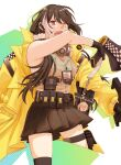 1girl ammunition_belt belt black_gloves black_hair black_skirt brown_sweater_vest eyebrows_visible_through_hair feet_out_of_frame gas_mask girls_frontline gloves gun heterochromia holding holding_gun holding_megaphone holding_weapon jacket long_hair looking_at_viewer mask mask_around_neck megaphone multicolored_hair open_clothes open_jacket open_mouth rabb_horn red_eyes ro635_(girls'_frontline) simple_background skirt solo standing weapon yellow_eyes yellow_jacket