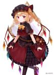 1girl :| alternate_costume bangs belt black_dress black_legwear blonde_hair blush bow breasts brown_belt closed_mouth commentary_request crystal curly_hair dress dress_bow earrings eyebrows_visible_through_hair flandre_scarlet foot_out_of_frame frilled_bow frills hat hat_ribbon jewelry looking_at_viewer mob_cap pointy_ears puffy_short_sleeves puffy_sleeves red_eyes red_nails red_ribbon ribbon sakizaki_saki-p short_sleeves side_ponytail simple_background skirt small_breasts solo standing stuffed_animal stuffed_toy teddy_bear thigh-highs touhou twitter_username white_background wings wrist_cuffs