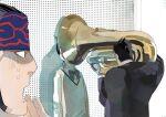 1girl 2boys black_hair black_suit bow golden_kamuy higashino highres ienaga_kano indoors instrument long_sleeves multiple_boys music playing_instrument sideburns standing sweatdrop sweater_vest tuba ushiyama_tatsuma white_background