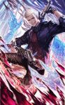 1boy black_footwear black_gloves black_pants blue_coat blue_eyes coat commentary devil_may_cry_(series) devil_may_cry_5 fingerless_gloves gloves greatsword holding holding_sword holding_weapon jiao_mao looking_at_viewer male_focus nero_(devil_may_cry) pants prosthesis prosthetic_arm red_sweater shoes single_glove sleeves_pushed_up solo sweater sword weapon white_hair