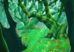 breloom budew combee forest grass green_theme highres light_rays nature no_humans outdoors paras parasect plant pokemon pokemon_(creature) scenery shank shroomish spinarak tree