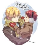 2boys blonde_hair carrying child coat commentary_request dated earmuffs kagami_taiga kise_ryouta kuroko_no_basuke long_sleeves looking_at_another male_focus mittens multiple_boys red_eyes redhead scarf short_hair smile time_paradox torisu winter_clothes winter_coat yellow_eyes younger