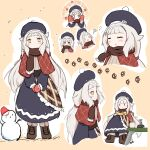 1girl adapted_costume alternate_hairstyle azur_lane beret blue_dress blush book brown_footwear character_sheet coffee_mug commentary_request cross-laced_footwear cup dress expressions fiido grey_hair hat highres long_hair long_sleeves looking_at_viewer low_twintails mittens mug multiple_views pom_pom_(clothes) scarf shawl snowman twintails winter_uniform yellow_eyes z46_(azur_lane)