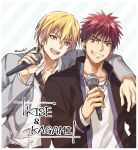 2boys :d arm_around_shoulder blonde_hair character_name commentary_request grey_jacket grin holding holding_microphone jacket jewelry kagami_taiga kise_ryouta kuroko_no_basuke long_sleeves looking_at_another male_focus microphone multiple_boys necklace necktie open_clothes red_eyes redhead school_uniform shirt short_hair smile torisu yellow_eyes