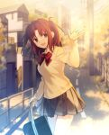 1girl bag bangs blurry blurry_background blush bow bowtie breasts brown_eyes brown_hair building cardigan collared_shirt commentary_request grey_skirt highres hipo holding holding_bag house long_hair long_sleeves looking_at_viewer medium_breasts miniskirt open_mouth outdoors parted_bangs pleated_skirt red_bow red_neckwear road school_bag school_uniform shirt sidelocks skirt smile solo street tongue tree tsukihime tsukihime_(remake) uniform wing_collar yellow_cardigan yumizuka_satsuki