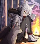1girl absurdres alternate_costume animal_ears arknights bangs black_legwear black_skirt boots campfire capelet coat cup ddddecade full_body fur-trimmed_boots fur-trimmed_jacket fur_collar fur_trim grey_hair grey_jacket hair_between_eyes highres holding holding_cup hood hood_down hooded_capelet jacket pantyhose print_jacket projekt_red_(arknights) skirt smile tail torn_clothes torn_legwear white_footwear wolf wolf_ears wolf_girl wolf_tail yellow_eyes