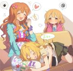 3girls ^_^ ^o^ absurdres blonde_hair blush closed_eyes couch cushion dress drooling food hano9789 heart heart_print highres idolmaster idolmaster_(classic) idolmaster_cinderella_girls idolmaster_starlit_season jealous lap_pillow looking_at_another lying messy_hair multicolored multicolored_clothes multicolored_dress multiple_girls musical_note object_hug on_side onigiri onigiri_print orange_hair polka_dot polka_dot_dress scrunchie simple_background sitting sleeping sparkle_print speech_bubble squiggle twintails wavy_hair wrist_scrunchie zzz