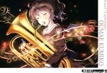 1girl absurdres artist_request bass_clef beamed_eighth_notes beamed_sixteenth_notes blush brown_hair brown_shirt brown_skirt closed_eyes crying eighth_note euphonium hibike!_euphonium highres holding holding_instrument instrument kitauji_high_school_uniform long_sleeves music musical_note neckerchief oumae_kumiko playing_instrument pleated_skirt ponytail red_neckwear sailor_collar school_uniform serafuku shirt short_hair skirt solo standing tears treble_clef white_sailor_collar