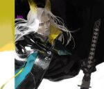 1boy animal_ears arknights artist_name beard black_gloves facial_hair frischenq gloves hellagur_(arknights) holding holding_sword holding_weapon jacket long_hair male_focus mustache sword upper_body weapon white_hair yellow_eyes