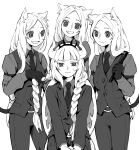 4girls cerberus_(helltaker) demon_horns demon_tail helltaker highres horns lucifer_(helltaker) multiple_girls sweat tail white_background white_hair