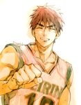 1boy basketball_uniform clenched_hand closed_eyes collarbone commentary_request eyebrows facing_viewer grin kagami_taiga kuroko_no_basuke male_focus redhead short_hair smile solo sportswear teeth toned toned_male torisu upper_body