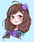 1girl artist_request blob brown_eyes brown_hair centi_(nimu) hair_ornament hairclip highres indie_virtual_youtuber low_twintails multicolored_hair nimu_(vtuber) short_hair simple_background smile solo star_(symbol) star_hair_ornament streaked_hair twintails upper_body virtual_youtuber