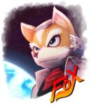 1boy animal_ears animal_nose bandana black_shirt blue_eyes body_fur border brown_fur character_name closed_mouth commentary commentary_typo earth_(planet) english_commentary english_text fox_boy fox_ears fox_mccloud furry furry_male headgear highres jacket kiibou_(keyhat_tk10) male_focus mixed-language_commentary open_clothes open_jacket planet red_neckwear shirt snout solo space star_(sky) star_fox thick_eyebrows two-tone_fur upper_body v-shaped_eyebrows white_border white_fur white_jacket