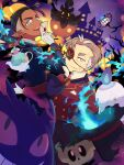 2boys :d alternate_costume bare_tree black_hair black_headwear buttons chandelure chatra_241187 closed_mouth commentary dark-skinned_male dark_skin earrings eyepatch fire gengar gloves halloween hand_up hat highres holding jacket jewelry kabu_(pokemon) litwick long_sleeves looking_at_viewer male_focus multicolored_hair multiple_boys open_mouth phantump pointy_ears pokemon pokemon_(creature) pokemon_(game) pokemon_swsh polteageist pumpkaboo raihan_(pokemon) red_jacket short_hair smile teeth top_hat tree two-tone_hair undercut upper_teeth white_gloves