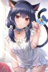 1girl :3 animal_ear_fluff animal_ears bangs bell black_hair black_hairband blue_bow blue_collar blue_nails bow breasts cat_ears cat_tail closed_mouth collar collarbone commentary_request day dress eyebrows_visible_through_hair flower frilled_dress frills hair_bow hair_flower hair_ornament hair_over_shoulder hairband hand_up highres idolmaster idolmaster_shiny_colors jingle_bell long_hair low_twintails morino_rinze nail_polish neck_bell red_eyes rose sleeveless sleeveless_dress small_breasts smile solo string string_around_finger string_of_fate sunlight tail tail_bell tail_bow tail_ornament twintails urabi_(tomatohouse) white_bow white_dress white_flower white_rose window yarn yarn_ball