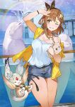 aquarium atelier_(series) atelier_ryza atelier_ryza_2 bag bare_legs breasts brown_eyes brown_hair dolphin hair_ornament handbag jewelry large_breasts necklace one_eye_closed reisalin_stout ribbon short_shorts shorts sleeveless sleeveless_jacket splashing thick_thighs thighs toridamono