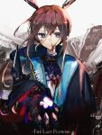 1girl amiya_(arknights) amiya_(guard)_(arknights) animal_ears arknights ascot black_coat blood blood_on_clothes blood_on_face blue_coat blue_eyes brown_background brown_hair chinese_commentary closed_mouth coat commentary_request english_text flower frilled_ascot frills grey_background highres holding holding_flower incoming_gift kkkovo long_hair long_sleeves looking_at_viewer noise purple_neckwear rabbit_ears smile solo upper_body