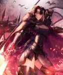 1girl absurdres armor armored_dress bangs breasts chain collar fate/grand_order fate_(series) faulds gauntlets grin headpiece highres jeanne_d'arc_(alter)_(fate) jeanne_d'arc_(fate) kankitsurui_(house_of_citrus) large_breasts looking_at_viewer metal_collar plackart short_hair silver_hair smile sword weapon yellow_eyes