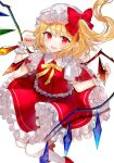 1girl arms_up bangs blush breasts center_frills commentary_request crystal eyebrows_visible_through_hair fangs flandre_scarlet floating floating_hair frilled_skirt frills hair_ribbon hat mary_janes mob_cap nail_polish open_mouth pantyhose pointy_ears puffy_short_sleeves puffy_sleeves red_eyes red_footwear red_nails red_ribbon red_skirt red_vest ribbon sakizaki_saki-p shirt shoes short_hair short_sleeves sidelocks simple_background skirt small_breasts solo tights_day touhou tress_ribbon vest white_background white_legwear white_shirt wings wrist_cuffs yellow_neckwear yellow_ribbon