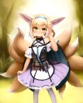 1girl animal_ears arknights blonde_hair blue_hairband blush braid closed_mouth commentary crumbles dress english_commentary fox_ears fox_tail green_eyes hair_between_eyes hair_rings hairband hand_up highres looking_at_viewer multiple_tails off-shoulder_dress off_shoulder outdoors pantyhose pouch purple_dress short_sleeves solo standing suzuran_(arknights) tail twin_braids white_legwear