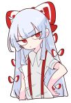 1girl bangs bow breasts fujiwara_no_mokou hair_bow hand_on_hip highres hime_cut long_hair looking_to_the_side op_na_yarou red_eyes shirt short_sleeves sidelocks simple_background small_breasts solo suspenders touhou very_long_hair white_background white_bow white_hair white_shirt