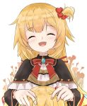 1girl absurdres akai_haato bangs blonde_hair blush eyebrows_visible_through_hair hair_ornament hair_ribbon heart heart_hair_ornament highres holding holding_needle hololive jewelry long_hair needle open_mouth ribbon severed_head silhouette simple_background smile stitched_neck string string_of_fate u_da_desu virtual_youtuber white_background