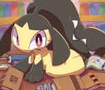 1girl all_fours azelf bangs black_hair black_skin blunt_bangs book bookshelf bright_pupils colored_skin commentary_request dialga extra_mouth indoors library long_hair looking_at_viewer mawile mesprit multicolored multicolored_skin nettsuu on_floor open_book open_mouth picture_frame pokemon pokemon_(creature) red_eyes runes scroll sharp_teeth sidelocks sideways_mouth solo stone_tablet sweat sweatdrop teeth two-tone_skin uxie very_long_hair wavy_mouth white_pupils wide-eyed yellow_skin