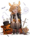 ahoge akebisousaku animal_ears arknights bandage_over_one_eye bandaged_arm bandages bat black_cloak black_legwear blonde_hair braid candy cloak commentary_request facing_viewer fence food ghost hair_ornament hat highres holding holding_candy holding_food jack-o'-lantern kroos_(arknights) kroos_(the_mag)_(arknights) open_mouth sarashi shoes short_twintails simple_background skull_hair_ornament smile sneakers squatting tiptoes tombstone top_hat twintails white_background