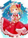 1girl ascot bangs blonde_hair blue_sky blush bouquet breasts collar collared_shirt cropped_legs crystal eyebrows_visible_through_hair eyes_visible_through_hair fang feet_out_of_frame flandre_scarlet hair_between_eyes holding holding_bouquet jewelry looking_at_viewer medium_breasts open_mouth petals ponytail puffy_short_sleeves puffy_sleeves rainbow red_eyes red_nails red_skirt red_vest sakizaki_saki-p shirt short_hair short_sleeves skirt sky smile solo standing thighs tongue touhou vest white_background white_shirt white_sleeves wings wrist_cuffs yellow_neckwear