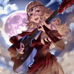 1girl ahoge alternate_costume bangs bare_shoulders bikini_boody black_nails blonde_hair circlet clouds cloudy_sky electric_guitar fire_emblem fire_emblem_fates full_moon guitar highres instrument long_hair looking_at_viewer moon music night night_sky open_mouth ophelia_(fire_emblem) playing_instrument sky