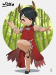 1girl bamboo bamboo_forest bangs bare_shoulders black_footwear black_hair blurry blurry_background closed_mouth commentary commission depth_of_field dress eyebrows_visible_through_hair fang fang_out forest full_body highres horns kuro_kosyou nature original pointy_ears red_dress red_eyes shoes skeb_commission solo standing standing_on_one_leg