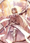 1girl armor armpits bare_shoulders bird blonde_hair blue_eyes breasts chain commentary_request fate/apocrypha fate_(series) feathers feet_out_of_frame flag gauntlets highres holding holding_sword holding_weapon janoukyo19 jeanne_d'arc_(fate) jeanne_d'arc_(fate/apocrypha) large_breasts leg_armor long_hair looking_at_viewer open_mouth panties polearm scabbard sheath spear sword teeth thigh-highs tongue underwear very_long_hair weapon