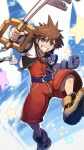 1boy blue_eyes brown_hair fingerless_gloves gloves highres hood jewelry keyblade kingdom_hearts kingdom_hearts_i kuroi_susumu looking_at_viewer male_focus necklace open_mouth short_hair smile solo sora_(kingdom_hearts) spiky_hair super_smash_bros.