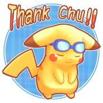 :3 animal_focus blue-framed_eyewear blue_background blush_stickers bowing closed_eyes closed_mouth commentary_request ears_down english_text eyewear_on_head full_body goggles happy no_humans outline pikachu plaid plaid_background pokemon pokemon_(creature) pun round_image smile solo standing super_smash_bros. thank_you tsuji white_outline