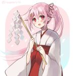 1girl alternate_costume bangs blush eyebrows_visible_through_hair gohei hair_ornament hairclip hakama harusame_(kancolle) hatomaru_(hatomaru56) japanese_clothes kantai_collection long_hair miko one-hour_drawing_challenge open_mouth pink_hair ponytail red_eyes red_hakama shide side_ponytail sidelocks simple_background solo twitter_username upper_body wide_sleeves