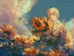 1boy blue_sky closed_mouth clouds cloudy_sky collared_shirt commentary day english_commentary flower green_eyes highres light_smile male_focus object_hug original outdoors shirt short_sleeves sketch sky solo sunflower watermark web_address white_hair white_shirt yellow_flower yuumei