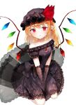 1girl alternate_costume bangs between_legs black_bow black_dress black_gloves black_headwear blush bow brooch commentary_request crystal dress dress_bow earrings elbow_gloves eyebrows_visible_through_hair flandre_scarlet floral_print gloves hand_between_legs hat hat_ribbon jewelry lace_trim looking_at_viewer mob_cap off-shoulder_dress off_shoulder pointy_ears red_ribbon ribbon rose_print ruby_(gemstone) sakizaki_saki-p seiza side_ponytail simple_background sitting solo touhou vampire white_background wings