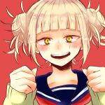 1girl bangs blonde_hair blue_sailor_collar blunt_bangs blush boku_no_hero_academia cardigan clenched_hands close-up commentary double_bun hair_up lowres messy_hair neckerchief neku34524 open_mouth portrait red_background red_neckwear sailor_collar sidelocks simple_background slit_pupils smile solo teeth toga_himiko upper_teeth yellow_cardigan yellow_eyes