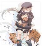 1girl aqua_hair bandaged_leg bandages beret black_gloves black_headwear black_jacket blue_footwear boots closed_mouth eyebrows_visible_through_hair feet_out_of_frame girls_frontline gloves gun handgun hat holding holding_gun holding_weapon hs2000 hs2000_(girls'_frontline) hug jacket long_hair looking_away one_eye_closed patch rabb_horn red_eyes simple_background solo standing teardrop toy weapon