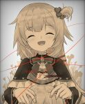 1girl absurdres akai_haato bangs blonde_hair blush character_name commentary_request eyebrows_visible_through_hair hair_ornament hair_ribbon heart heart_hair_ornament highres hololive jewelry long_hair monochrome open_mouth ribbon severed_limb string string_of_fate virtual_youtuber