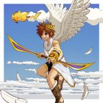 1boy :3 above_clouds angel armlet bangs bare_shoulders bike_shorts blue_eyes blue_sky blush_stickers border bow_(weapon) brown_eyes brown_footwear brown_hair closed_mouth clouds commentary_request crossover day feathered_wings feathers flying fur-trimmed_footwear gold happy holding holding_bow_(weapon) holding_weapon kid_icarus laurel_crown male_focus midair outside_border pikachu pit_(kid_icarus) pokemon pokemon_(creature) sandals shiny shiny_hair short_hair sidelocks sky smile smoke solo_focus spiky_hair super_smash_bros. thighlet toga tsuji weapon white_border white_wings wings