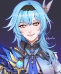 1girl :d absurdres bangs blue_hair cape close-up commentary english_commentary eula_(genshin_impact) genshin_impact hair_between_eyes hair_ornament hairband highres long_hair long_sleeves looking_at_viewer necktie rezoeline sidelocks signature smile solo vision_(genshin_impact) yellow_eyes